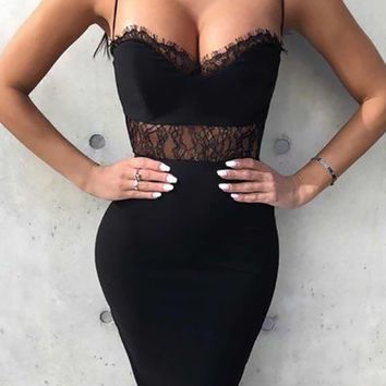 Leading The Charge Sleeveless Spaghetti Strap V Neck Sheer Lace Trim Bodycon Bandage Midi Dress - 3 Colors Available