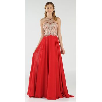Poly USA 7826 - Halter Beaded Bodice A-Line Chiffon Long Prom Dress Red
