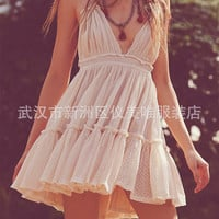 Women's Fashion  Free People Sexy Beach Skirt Vacation Backless One Piece Dress [8669103303]