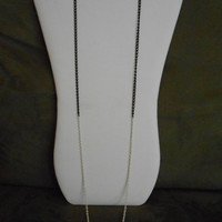 SALE 36 inch long Single Black and White Chain Layering Necklace