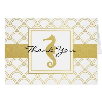 Seahorse Faux Gold Nautical Vintage Thank You Card