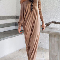 WealFeel Oversize One Shoulder Maxi Dress in Jersey