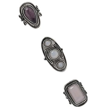 Faux Gem Statement Ring Set
