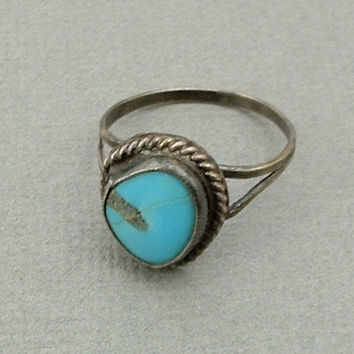 """OLD PAWN Native American Navajo Ring TURQUOISE Ring Sterling Silver Vintage Navajo Jewelry Turquoise Rings Size 6-1/4"""" c.1950s"""