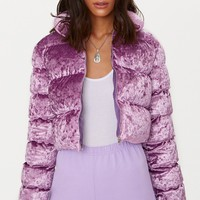 Lilac Crushed Velvet Cropped Puffer Jacket