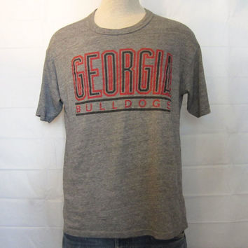 Vintage Rare 80s GEORGIA BULLDOGS RAYON Tri-Blend Men Medium College Heather Grey T-Shirt