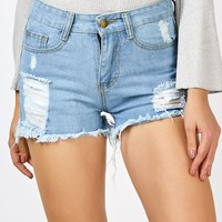 Denim High Waisted Frayed Shorts