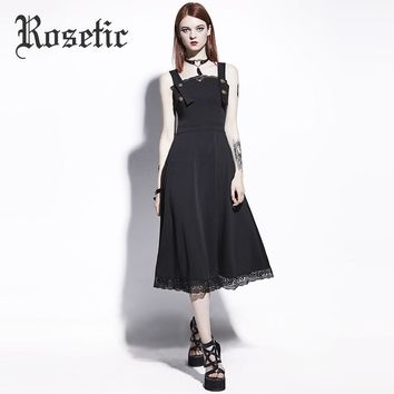 Casual Dress Black Backless Patchwork Lace Dresses Fashion Young Gothic A-Line Spaghetti Strap Dress