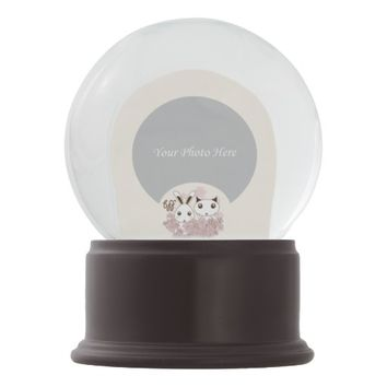 BFF - Best Friends Forever Cute Animal Kids Ivory Snow Globes