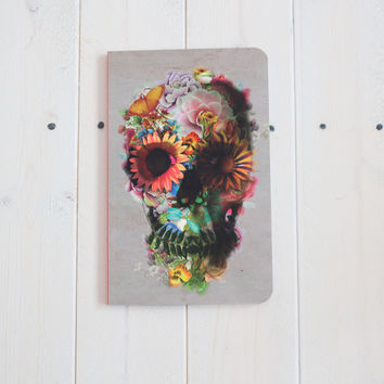 Floral Skull Watercolor Soft Cover Notebook