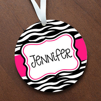 Personalized Zebra Print Personalized Name Ornament Keepsake - Custom Made to Order