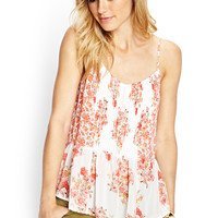 Pleated Floral Woven Cami