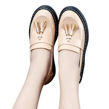 hee grandparty shoes Women oxfords flat slip on platform with fringe british style shoes xwd6324