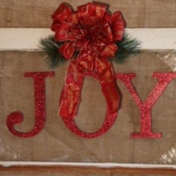 Rustic Repurposed Shabby Chic Window with Christmas Joy Sign