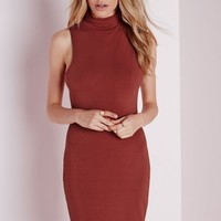 ROLL NECK JERSEY BODYCON DRESS RUST