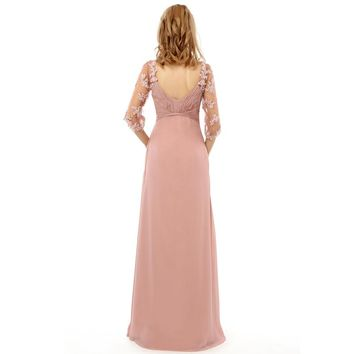 A line Half sleeve Applique Chiffon Long Elegant Evening Formal Gowns