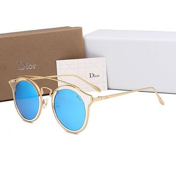 Dior Fashion Ladies Summer Style Cute Circular Frame Sun Shades Eyeglasses Glasses Sunglasses Blue I12724-1