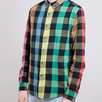 Multi check long sleeve shirt - TOPMAN USA