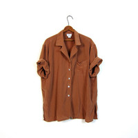 vintage silk shirt slouchy minimalist short sleeve copper brown top oversized 90s pocket blouse womens XL