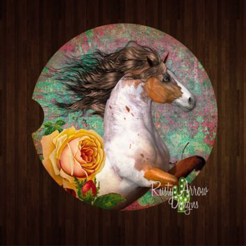 Paint Horses and Yellow Rose Sandstone Car Coaster