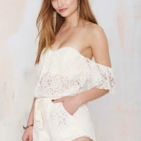 Little in the Middle Lace Romper - Ivory