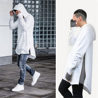 British Style Hi-Street Mens Hooded Hip Hop Sweatshirts With Gold Side Zipper Fashion Men Extended Hoodie Arc Cut Long Hoodies