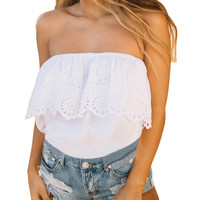 White Strapless Bandeau Blouse with Ruffled Overlay