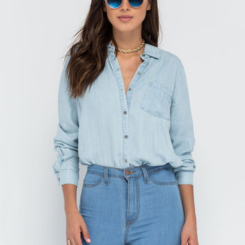 Casual Aesthetic Chambray Shirt GoJane.com