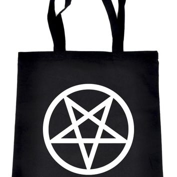 White Inverted Pentagram Tote Book Bag School Goth Punk Occult