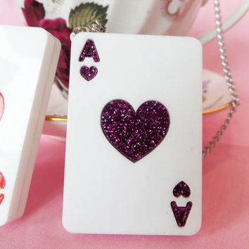 Acrylic Playing Cards Necklace: TEA PARTY Red and Pink Glitter Acrylic Ace of Hearts Playing Cards Necklace