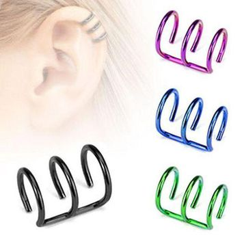 ac PEAPO2Q 2017 New Fashion Simple Stainless Steel 3 Rings Ear Clip Fake Piercing Dilatations False Ear Piercing For Women Men Body Jewelry