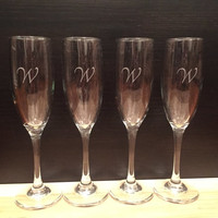 Personalized Custom Engraved Champagne Glasses: Set of 4- Anniversary Gift, Bridesmaids Champagne Flutes
