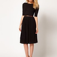 ASOS Midi Dress With Pleated Skirt at asos.com