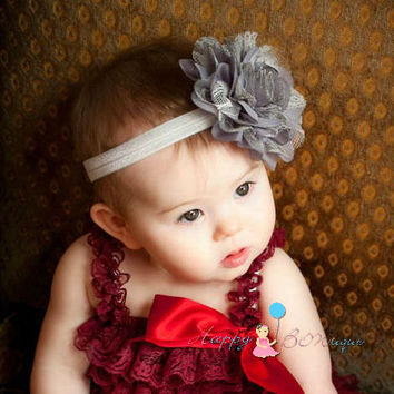 Large Silver Grey Chiffon Lace flower puff headband