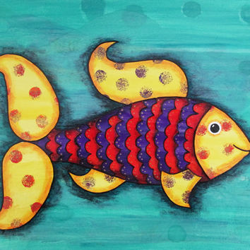 Colorful Fish print, mixed media nautical wall art,  nursery decor in bright yellow, red, purple and turquoise, choice of print sizes
