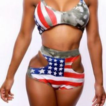 Patriotic Cut Out High Waist American Flag Bikini Halter