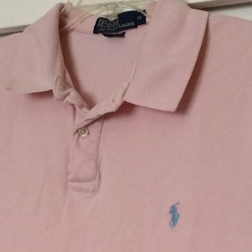 Sale!! Vintage Polo by Ralph Lauren pink casual cotton Polo shirt size Medium Free shipping within the USA