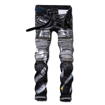 Fashion Mens Patchwork Straight trousers Men Ripped Jeans Brand Scratched Biker Jeans Hole Denim Slim Fit Casual Pants