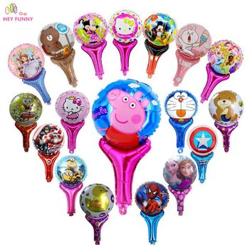 HEY FUNNY 10pcs/lot Cartoon inflatable balloon 30 type stick cartoon handheld balloon toys cheering stick balloons party supply