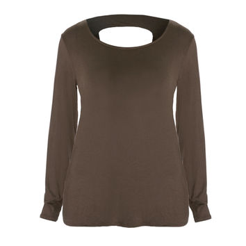 Twist Back Basic Top, Mocha