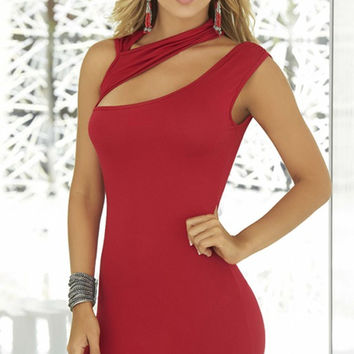 Curve Hugging Red Mini Dress