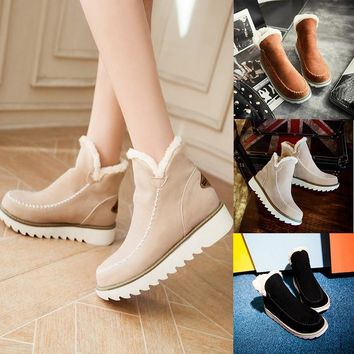 Women's Fashion Autumn Winter Warm-skinned Heels Flat Snow Scrub Shoes Snow Boots(34-43)