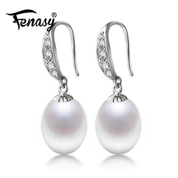 FENASY Natural freshwater pearl fashion earrings, drop earrings, fashion jewelry for Women with wedding birthday gift box