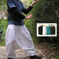 Harem Pants -  Aladdin Pants - Harem Trousers - Yoga Pants - Cotton Afghani Pants - Alibaba Pants - Hammered - Men - Woman - Winter - White