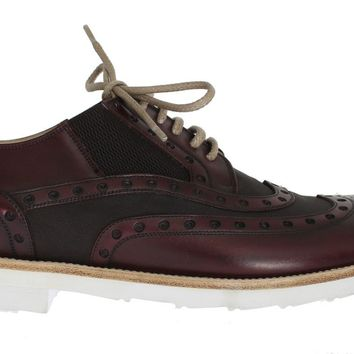 Dolce & Gabbana Bordeaux Leather Wingtip Shoes