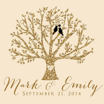 Wedding Gift, Tree with Love Birds - 8x10 Art Print, Personalized - Gold Glitter, Gold, Blush, Ivory Wedding - Anniversary Gift for Husband
