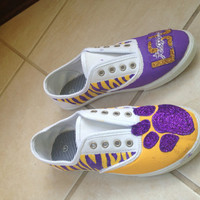 Custom made handpainted LSU shoes original design by BilaBliss