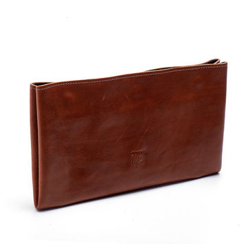 Cognac Brown Leather Wallet / Checkbook Wallet / Women Purse / Unisex Wallet / Card Slot Wallet / Coins Wallet / Compartments Wallet - Efika