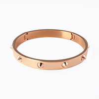 14k Rose Gold Plated Spikes Bangle - Celine Hudson