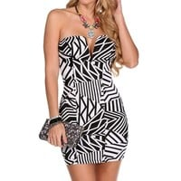 BlackWhite Geometric Stripe Dress